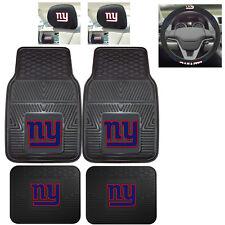 7pc NFL New York Giants Heavy Duty Rubber Floor Mats & Steering Wheel Cover