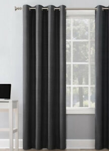 """Sun Zero Blackout Grommet top curtain panel charcoal 108"""" x 50"""" thermal insulate"""