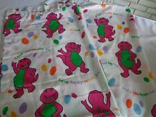 "2 Barney Sesame Street curtain panels (1 pair) 1992 Lyons Group Bibb 40"" x 64"""