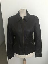 Bisou Bisou Genunine Leather Motocycle Jacket Brown Sz 10
