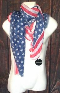 COTTON ON AMERICAN FLAG LIGHT SCARF ONE SIZE