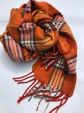 Orange Brown Check Scarf Plaid Very Soft Fringe scarf Warm Winter Colorful