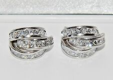 UK Hallmarked 9ct White Gold 3.00ct Princess Huggie / Cuff Earrings - 3.8 grams