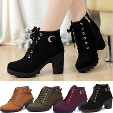 Womens High Heels Martin Ankle Boots Ladies Zipper Lace Up Buckle Platform Shoes