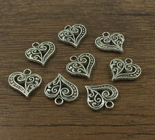 12pcs Heart Tibetan Silver fit Pendants bracelet beaded Charms 14x14mm DIY HOT