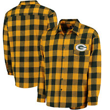 Men's Green Bay Packers Klew Green Large Check Flannel Button-Up Shirt NEW