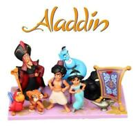 Disney Aladdin 9 Piece Figures Set Lot - Cake Toppers Jasmine Genie Jafar Abu