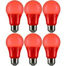 6 Pack Sunlite Led De Color Bombillas A19 3W con base mediana (E26), rojo