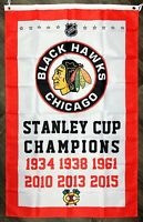 Chicago Blackhawks NHL Stanley Cup Championship Hockey Flag 3x5 ft Red Banner