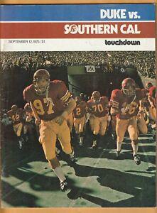 1975 USC Trojans Duke Blue Devils Football Program Clay Matthews Vince Evans B1