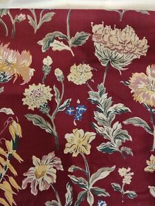 Pottery Barn Winslow Burgundy Blue Tan Floral Cotton Standard Pillow Sham NIP