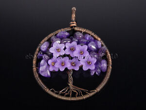 Natural Gemstones Chip Reiki Chakra Flower Tree of Life Copper Pendant Charms