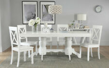 Chatsworth & Kendal Extending White Dining Table & 4 6 Chairs Set