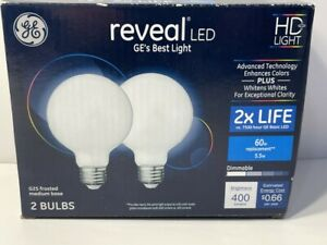 GE Reveal LED G25 Frosted Medium Base Bulbs 2 Pack 5.5w = 60w 400 Lumens New