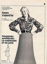 PATRONS supplement à femmes d'aujourd'hui n°1488 du 07 novembre 1973