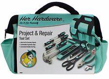 Ladies 76PC Tool Bag Set Kit ,Women's Tool Set, Tool Hardware Assortment- Blue
