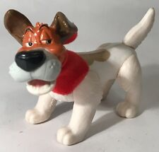 Disney's Oliver And Company Dodger Dog Figure White Brown Red Bandana Scarf Toy