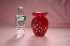 """GORGEOUS VINTAGE RUBY RED MILLIFIORI MURANO VASE EXCELLENT CONDITION 61/2""""H"""