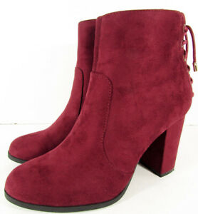 $70 Limelight Womens Celeste High Heel Ankle Bootie Shoes, Burgundy, US 9.5