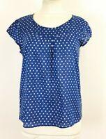 Ladies Seasalt Cornwall Garden Gate Blue Polka Dot Top Size UK 12