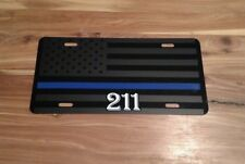 Thin Blue line American Flag License Plate Matte Black USA Tactical Badge number