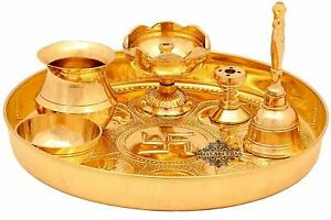 "Brass Puja Thali Set, Religious Spiritual Item, Home Temple, 8.1"" Inch"