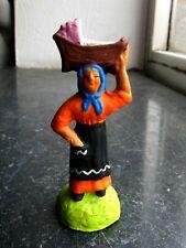 Santon en terre cuite peint Fouque - Porteuse de berceau 6 cm