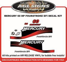 1999 - 2004 MERCURY 60 hp  Four Stroke EFI Outboard Decals reproductions