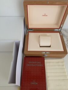 GENUINE OMEGA Wood Watch Box Case Booklet card case Set with white box / Brown
