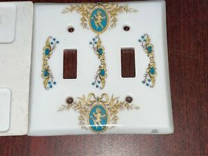 Limoges Porcelaine Double Light Switch Cover French W/ Cherubs Angels Teal Gold