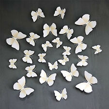 3D Magnet White Butterfly Sticke  Wall Decoration Surface Refrigerator 24 Pcs