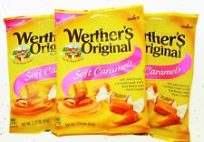 Werther's Soft Caramels 2.22oz Bags Soft Chews Pink Label Chewy Candies Lot of 3