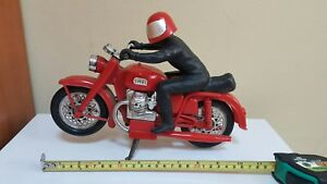 VINTAGE SHELL MOTORCYCLE AND RIDER BIKER 70's HOLLOW PLASTIC LARGE TOY PIRELLI