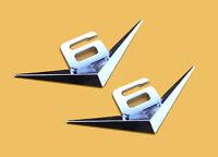 2pcs V6 Emblem Chrom Schriftzug Auto Aufkleber Logo 3D Metall V6 emblem Neu