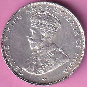 1920 Straits Settlements George V Half Dollar silver coin