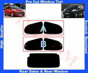 Peugeot 107 5D 2005-... Pre-Cut Window Tint 5%-50% Rear Window & Rear Sides