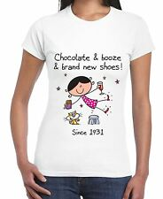 Chocolate Booze and Brand New Shoes 85th Birthday Women's T-Shirt