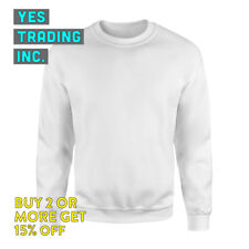 UNISEX PLAIN MENS WOMENS CREWNECK SWEATSHIRT FLEECE SHIRT SWEATER FLEECE LINED