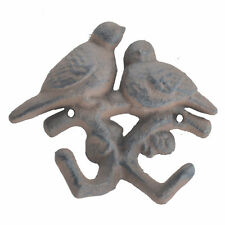 Love Birds Double Wall Hook Rust Brown Cast Iron Country Decor 4.375""