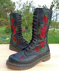 Dr Martens Vonda Boots Women 5 UK 7 US Embroidered Floral Applique Roses 1914
