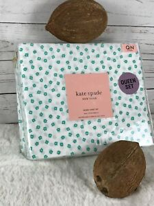 kate spade NEW YORK Percale Purple Ditsy Floral White/Turquoise QUEEN Sheet Set