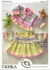 UKHKA 73 Prem Bebé Vestido Cárdigan Patrón de Tejido Doble Punto