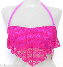 Hula Honey Extra Small Pink/Lilac Crochet Bandeau Bikini Swimsuit TOP NWT XS