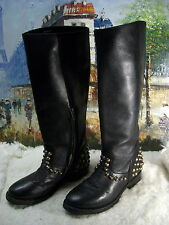 Ash Vamos Bis Studded Leather Knee-Length Boot - Size 37.5 - $395