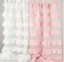 Shabby French Petticoat Ruffle Curtains Drapes Sheer Pink 2 Ruffled Panels Chic