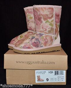 UGG Australia Classic Romantic Flower Roses Sheepskin Boots US 9 UK 8 EU 26 New
