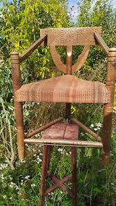 antique XIX c. Neo-Gothic 3-Legged Oak Chair Vintage Antique Monks Stool