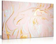 Pink & Gold Marble Swirl Canvas Wall Art Picture Print