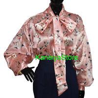 Frauen gedruckt Satin Vintage-Stil Langarm Bogen Bluse oben High Neck Shirt NEW