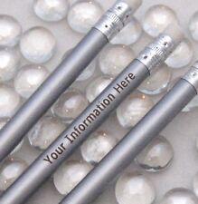 12 - Custom ENGRAVED Regular Pencils - METALLIC  SILVER